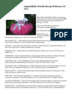Corporate Social Responsibility Weekly Recap (February 16 – February 23, 2011)