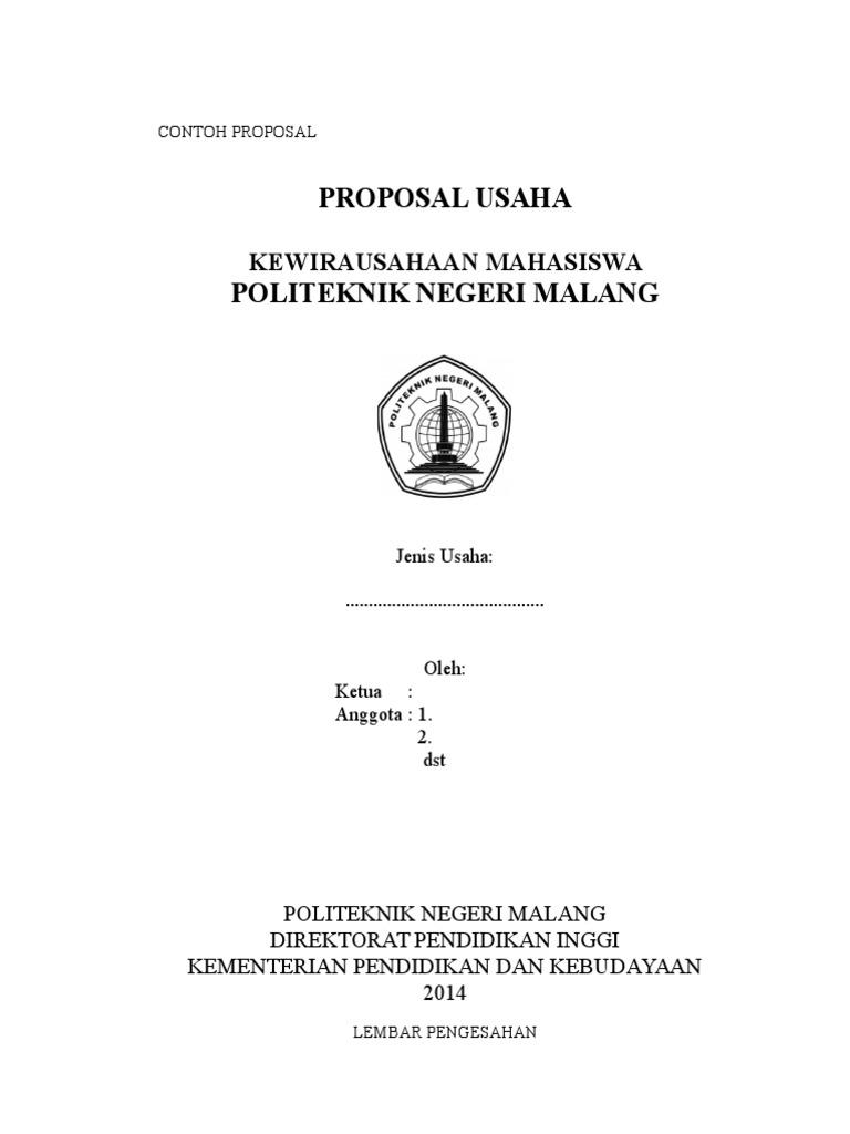 Contoh Proposal Kewirausahaan Mahasiswa Tahun 2014