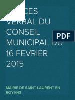 Procès Verbal Conseil Municipal du 16 février 2015
