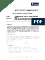 Syllabus Gestión en Seguridad y Salud en El Trabajo. Normatividad Vigente