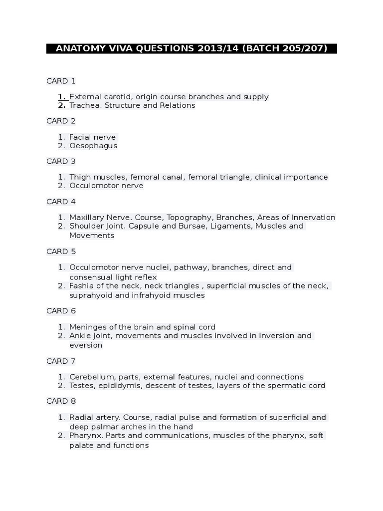 207 Anatomy Viva Qsuestions 2014   Neck   Circulatory System