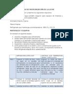 Proceso de Pasteurización de La Leche