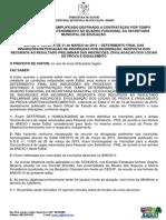 Edital 005 - Processo Seletivo 2015 - Resultado Final Inscricao