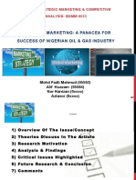 Strategic Marketing- A Panacea for Success of Nigerian O&G Industry