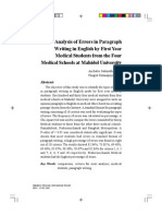 Analysis of Errors in Paragraph Writing in English by First Year Medical Students From the Four Medical Schools at Mahidol University