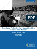 ONG Report - Prioritizing Protection From Mass Atrocities, Lessons From Burundi