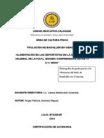 """""""ALIMENTACIÓN EN LAS DEPORTISTAS EN LA DISCIPLINA DE VOLEIBOL DE LA F.D.P.L. EDADES COMPRENDIDAS ENTRE 15 A 17 AÑOS"""""""