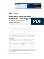 BBC News - Swiss Solar Innovator Wins Millennium Technology Prize
