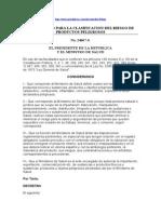 Reglamento Para La Clasificación Del Riesgo de Productos Peligrosos