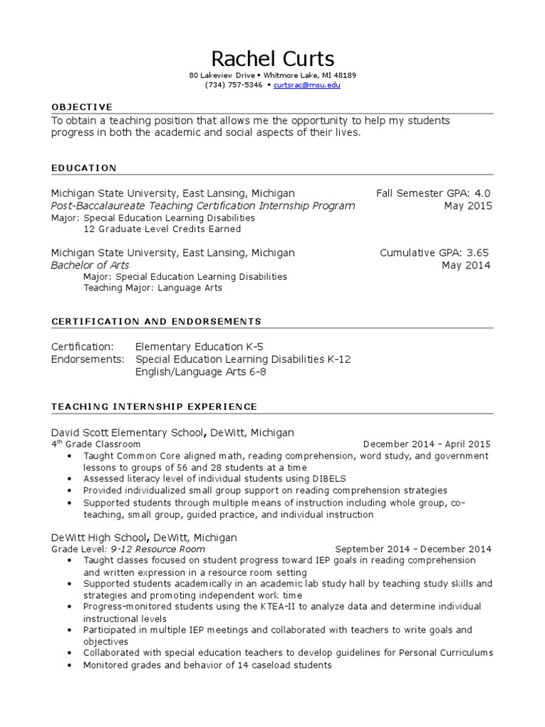 Rachel curts edited resume special education learning disability 1betcityfo Gallery