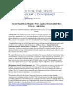 Senate Republican Majority Votes Against Meaningful Ethics Reforms Legislation