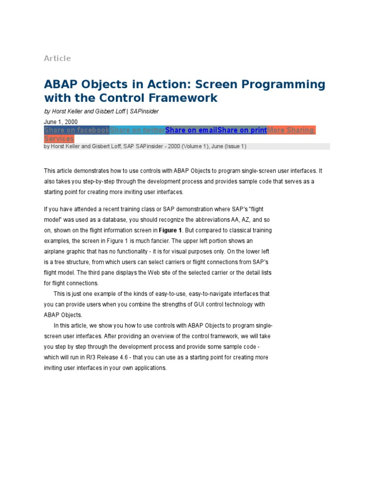 ABAP Objects in Action - Screen Programming With the Control Framework |  Class (Computer Programming) | Method (Computer Programming)