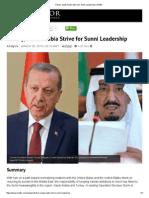 Turkey, Saudi Arabia Strive for Sunni Leadership