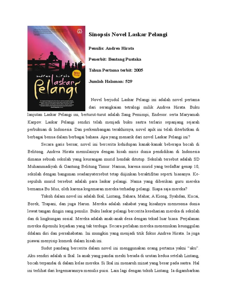 Sinopsis Novel Laskar Pelangi