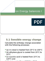 Exercises on Energy Balances