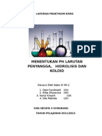 Lap Kimia Penyangga, Hidrolisis, Koloid