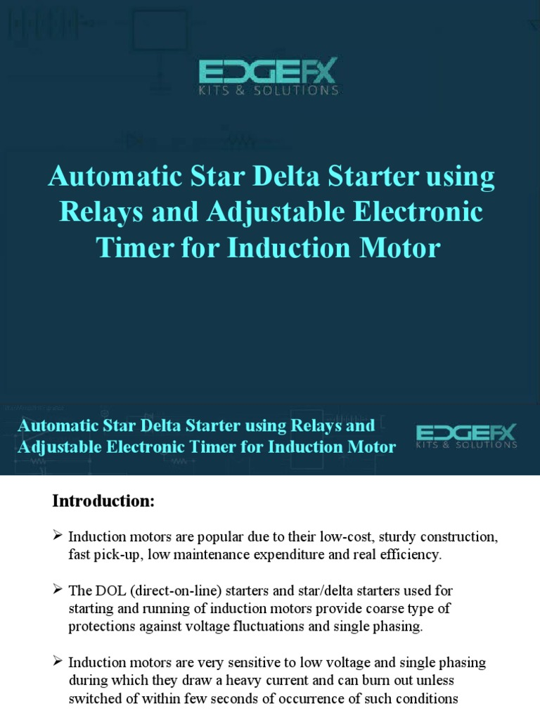 Automatic Star Delta Starter Using Relays And Adjustable Electronic Crompton Dol Wiring Diagram Timer For Induction Motor1 Relay Bipolar Junction Transistor