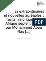 Voyages extraordinaires et nouvelles agréables - récits historiques sur l'Afrique septentrionale.Med Abou Ras
