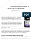 How to Select a Memory C...Ra With HD Video
