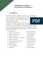 Memoria Proyecto Expediente Técnico a Nivel de Ejecución de Obra Del Proyecto Hospital Regional de Lambayeque
