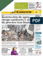 25-3-15 El Comercio - Huayco en Chosica
