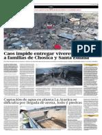 26-3-15 El Comercio - Alcaldes No Se Dan Abasto Para Repartir Material a Damnificadosde Chosica