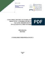 Consiliere Psihopedagogica Programa Titularizare 2010