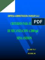 01-PL07 Criterios Para El Plan de Mecanizacion a 2000 Tpd-PERU