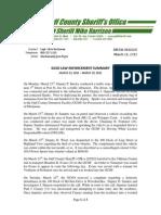 GCSO LAW ENFORCEMENT SUMMARY MARCH 23, 2015 – MARCH 29, 2015