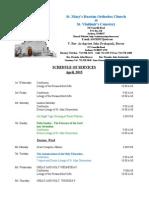4. Schedule of Divine Services - April, 2015