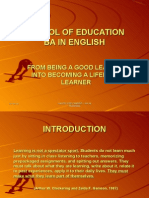From Being a Good Learner Into Becoming a Lifelong Learner