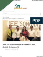 31-03-15 Maloro Acosta se registra ante el IEE para alcaldía de Hermosillo