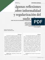 Algunas reflexiones sobre informalidad y regularización del suelo urbano