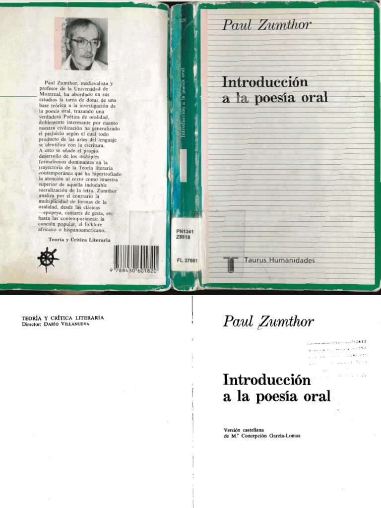 Zumthor-Introduccion a La Poesia Oral