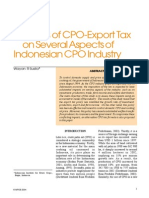 Impacts of CPO-Export Tax on Several Aspects of Indonesian CPO Industry