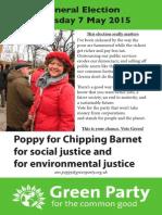 Green Party Chipping Barnet April Leaflet 2015 Poppy Flyer