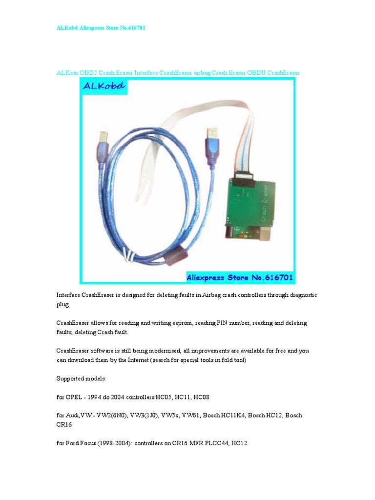 ALKcar OBD2 Crash Eraser Interface CrashEraser