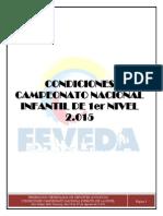 FEVEDA Condiciones Campeonato Nacional Infantil 2015