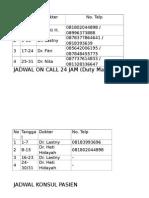 Jadwal on Call 24 Jam