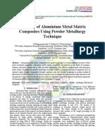 A Survey of Aluminium Metal Matrix Composites Using Powder Metallurgy Technique