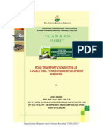 ROAD TRANSPORTATION SYSTEM AS A VIABLE TOOL FOR ECONOMIC DEVELOPMENT IN NIGERIA.