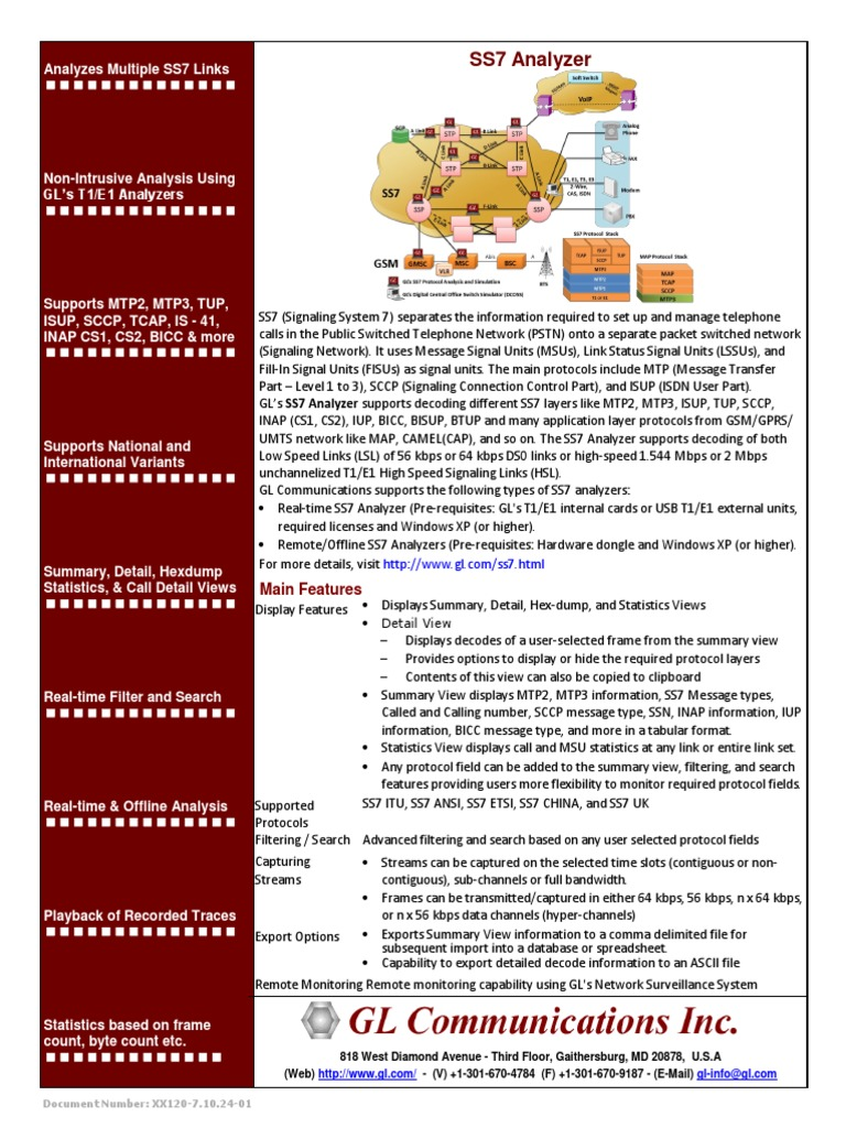 Ss7 Analysis Brochure | Networking Standards