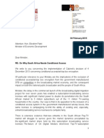 2015-02-04 Letter to Minister of Economic Development - On Conditional Access