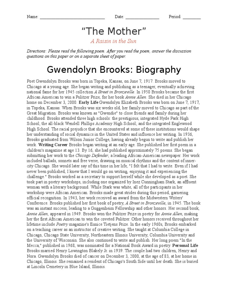 gwendolyn brooks the mother