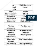 Words for Manners Bingo