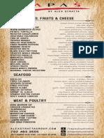 Tapas by Alex Stratta menu
