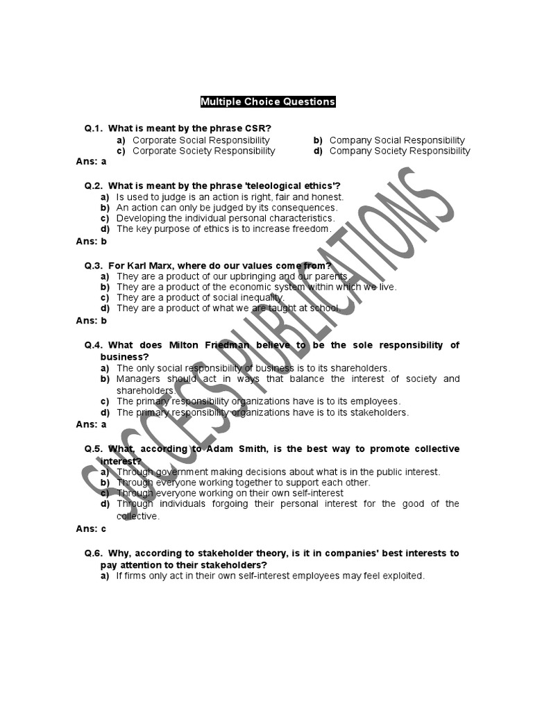 mcq stakeholder corporate corporations