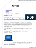 Acer Laptop Recovery Without CD