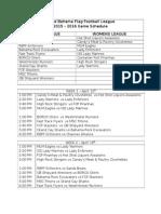 GBFFL 2015-2016 Regular Season Schedule