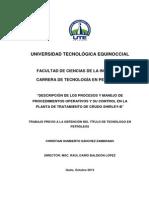 DESCRIPCIÓN DE LOS PROCESOS Y MANEJO DE PROCEDIMIENTO OPERATIVO Y CONTROL EN LA PLANTA DE TRATAMIENTO CRUDO.pdf
